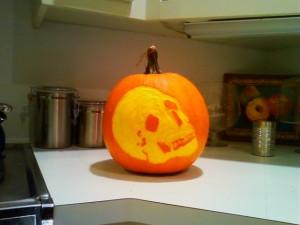 Etched skull pumpkin