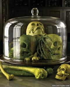 Martha Stewart's glittered skulls are gothly chic.