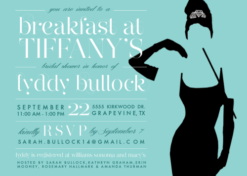 Breakfast at Tiffany's Bridal Shower | Rosemary on the TV #invitation #design #wedding