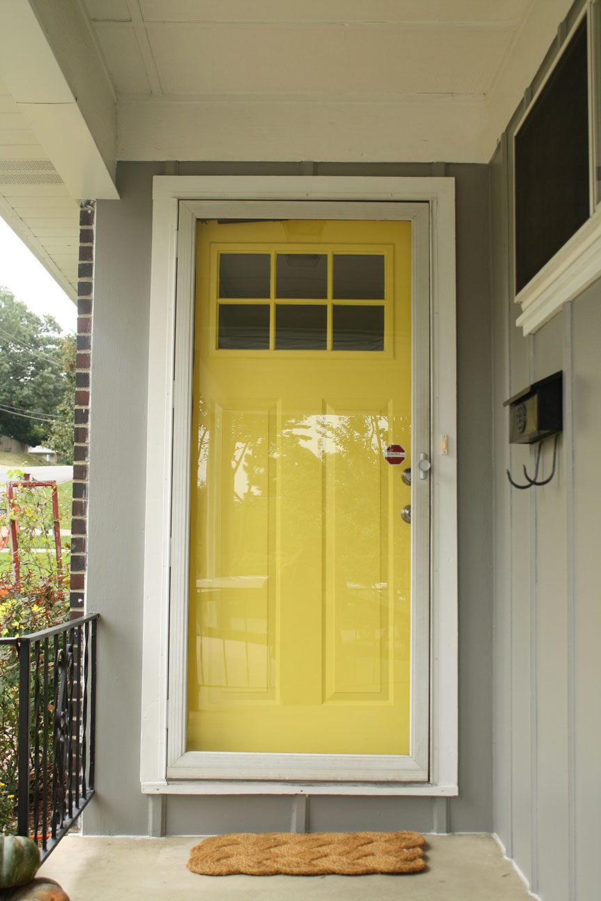 Yellow door rosemary on the tv for Front door yellow paint