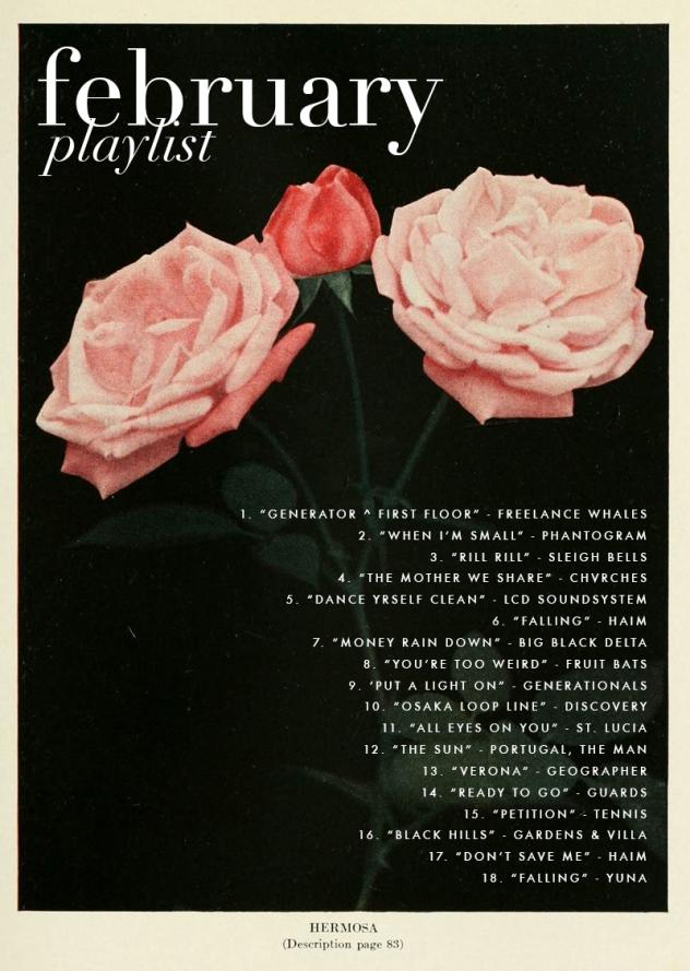 February Playlist   Rosemary on the TV #playlists #february #music
